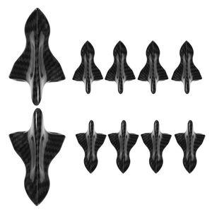 10pcs universal de fibra de carbono Look Car Styling Kit difusor de aletas de tiburón alerón en el techo del ala del parabrisas Vortex Generador