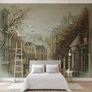 Photo Wallpaper European Style 3D Stereo Retro Street View Backdrop Wall Decorative Painting Murals Living Room Bedroom Frescoes