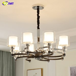 FUMAT 6 8 10 head Nordic living room led chandelier Black+Silver lights barn metal flush mount ceiling home decoration lighting lamp