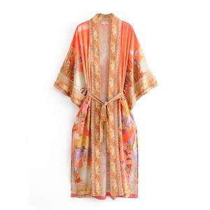 Donne lungo Robe Kimono cardigan camicette Estate Boho Mermaid Stampa Moda Bohemian Sashes maxi cardigan Beach Boho camicia allentata occultamenti Nuovo