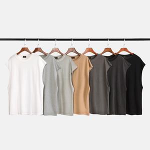 7 Cores Mens Verão Designer camisetas Hip Hop Vest mangas High Street Base de Cor Sólidos T-shirt Moda Casual