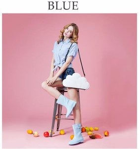 Hot Sale-Women Fashion Ice Cream Color Rain Boots Ladies Solid Rubber Low Heel Slip Waterproof Buckle Rainboots