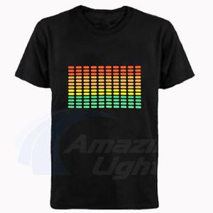 Горячие продажи высокое качество унисекс 100% хлопок светодиодные футболки эквалайзер звук активации EL t рубашка удивительный свет бренд светодиодные футболки