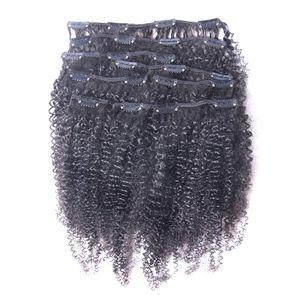 горячая девственница афро кудрявый вьющиеся клип в человеческих волос расширения природных черный полный глава бразильский Реми волос клип ins Бесплатная доставка