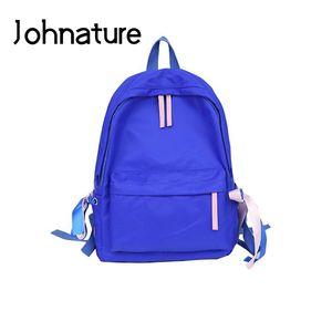Johnature 2019 New Bags Soft Handle Fashion Sports Arcuate Shoulder Strap Silt Pocket Softback Zipper Solid Women Backpack