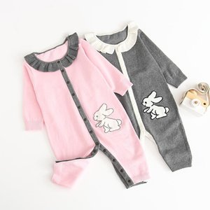 2019 Baby Infant Spring Fall Clothing Romper Rabbit Design 100% Cotton Knitted Long Sleeve Baby Kids Romper