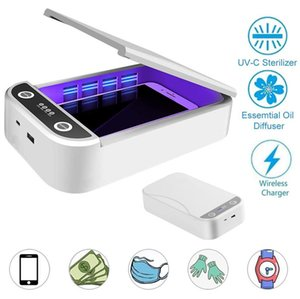 New UV Sterilize box Multi-Function Aroma Diffuser phone wireless charger 3 in 1 Disinfection Box for Jewelry Watches Glasses mask etc