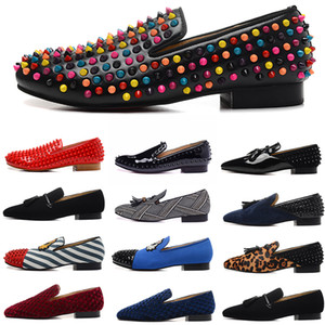 de luxo designer vestido sapatos mens couro pontos vermelhos bottoms flats de camurça sapatos de lona vinho tinto azul scarpe des chaussures pour hommes