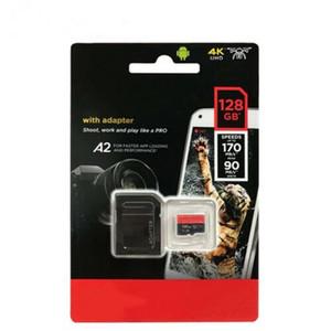 2020 Venda Quente Preto 170 Mbps A2 Extreme PRO 32 GB 64 GB 128 GB 256 GB Classe 10 TF Cartão De Memória V30 UHS-I U3 TF Cartão DHL com Adaptador SD