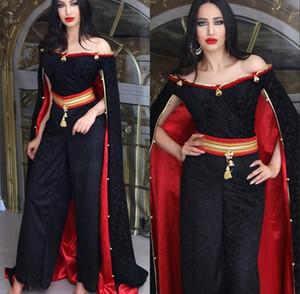 Negro árabe vestidos de noche formales de los vestidos de noche 2020 del mono traje de gala Oriente Medio Dubai Abaya Kaftan Vestidos Batas de soirée