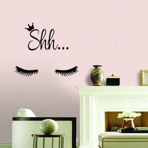 Cute Shh Eyelash Wall Sticker para sala de estar hogar decorativo pared calcomanía para niños niños habitación papel pintado