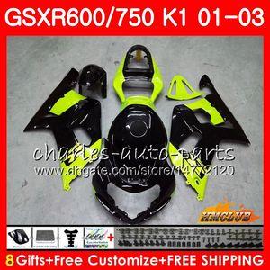 8Gifts Grün schwarz heißen Körper für SUZUKI GSXR750 GSXR 600 750 GSXR600 01 02 03 4HC.45 GSXR600 K1 GSX R750 GSXR750 2001 2002 2003 Verkleidungs-Kit