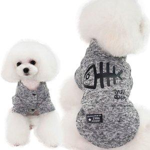 marchio animale domestico vestiti caldi del cane alla moda di pesce cappotto cucciolo vestiti del modello del fumetto osso cappotto cucciolo gilet primavera autunno inverno vestiti dell'animale domestico