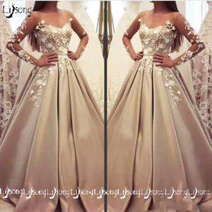 Fashion Khaki Appliques Pleated A-line Evening Dress Vestido de festa Women Formal Party Wear Maxi Gowns Satin Full Tulle Sleeves Prom Gown