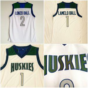 الثانوية تشينو هيلز أقوياء البنية الفانيلة الرجال كرة السلة lonzo 2 الكرة لاميلو 1 الكرة جيرسي فريق اللون الأبيض جميع مخيط الرياضية تنفس