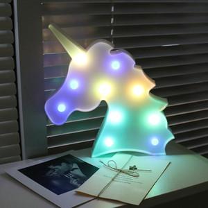 Night Light Unicorn Лампа LED Unicornio Head детская Night Light 3D Красочные Лампы На Новый Год Подарок Украшение Стола Партии