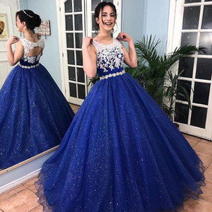 2020 Sparkly Royal Blue Ball Gown Lace Quinceanera Dresses Vestido 15 Years Dress Round Neck Open Back Girls Sweet 16 Formal Gowns