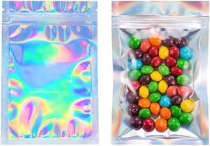 100 Stück Resealable Geruch Proof Taschen Folienbeutel Tasche Flach Laser-Farbpaket frei shiaging Beutel für Partei Nahrungsmittelspeicher Holographic Farbe Favor