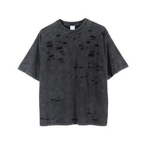 Tops Uomini solido Colore magliette Designer Hole Stree Style T casuali Maniche corte T Moda Uomo