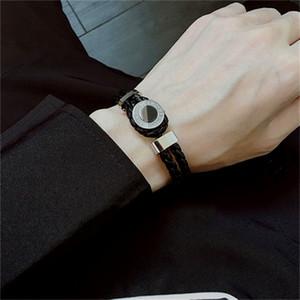 럭셔리 클래식 디자인 MB 브랜드 블랙 짠 가죽 팔찌 프랑스어 남자의 보석 매력 팔찌 남성 착용 Pulseira으로 최고의 선물 팔찌