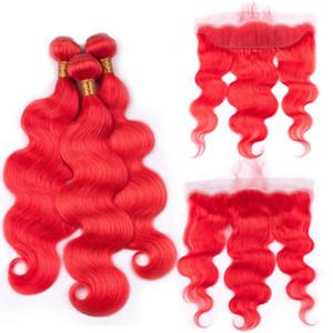 Hair Silanda Vail Популярные Красные Тело Волна Remy Человеческие Волосы Weave Weft Пучки с 13x4 Кружева Фронтальное Закрытие Для продажи Бесплатная Доставка