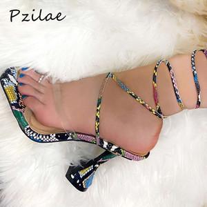 Pzilae Seksi yılan baskı çapraz kayış kadın sandalet yaz kare ayak yüksek topuklu çevirme kadın boyutu 35-40 açık ayak ayakkabı flop