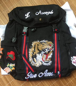 Tiger Embroidery Techpack with embroidery designer travel bag backpack shoulder bags backpacks book bag