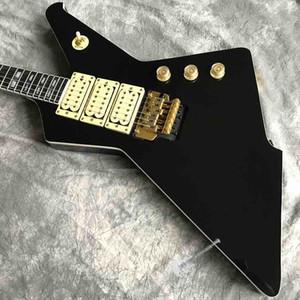 Custom High Gloss Black Duplex Tremolo System Guitar électrique peut personnaliser la forme du logo Spécialisé jouer à 6 cordes Guitare électrique