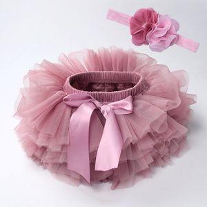 Baby Tutu 2ST Tüllspitze Pumphose Windel Neugeborenes Kind Outfits Mauv Stirnband Blume Abdeckkappenset Baby bloomer Netz