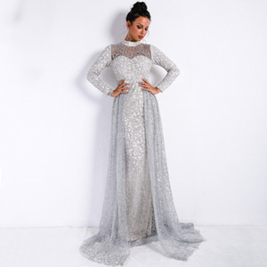 High Neck Elegant Evening Formal Dresses 2019 Silver Overskirt Mermaid Prom Dresses Detachable Skirt Special Occasion Dress Real Picture