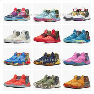 Kyrie 6 Préchauffez NYC Miami Houston LA Shanghai Pékin Guangzhou Taipei Tokyo Manille Berlin Guérissez les chaussures du monde Basketbal CN9839-403-100 BA