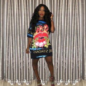 Solta Digital Impresso Vestidos letra impressa Causal Arrefecer vestido colorido Lip Night Club vestido de mulher