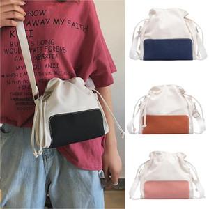 Bolsas para Mulheres Canvas Messenger Bags Patchwork ombro Moda de um ombro com cordão Dumplings Worek Plecak Sznurek