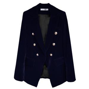 Traje de terciopelo de las mujeres nuevo otoño e invierno temperamento de la manera Oro azul de terciopelo corto Párrafo pequeño traje chaqueta