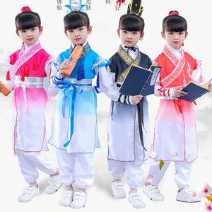 어린이 의상을위한 중국 의상 민속 의상 Wushu Clothing Traditional Chinese Hanfu Children 청나라 고대 민속의 무대 DN3606