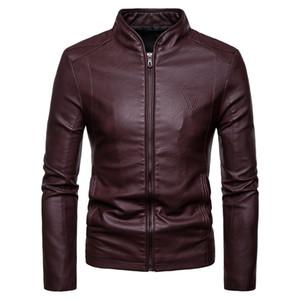 Мужские кожаные куртки осени способа новых людей корейский Тонкий воротник PU куртки Бесплатная доставка искусственная кожа