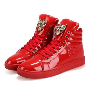 Male Autumn Spring Casual Shoes For Men lion monster head Lace Up Red White Black Color Mens Casual Shoes Men High Top botas