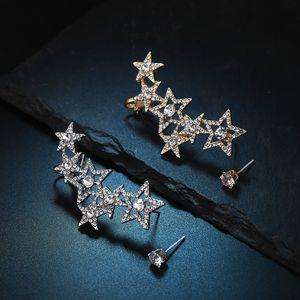 925 Asymmetric Estrela Ear Cuff Super Flash brincos de diamantes Womens Fashion Style Personalidade Exagerada Brincos