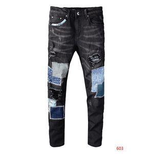 Designer Jeans Mode Hommes Streetwear style Jeans de Distressed Homme Denim Ripped Pantalons simple classique droite Denim Marque Mens Slim Jeanss