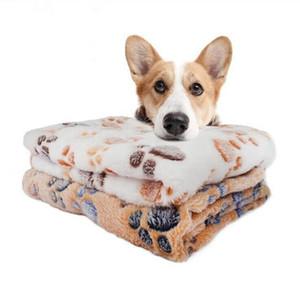 Perros perro Manta suave cama con la pata linda del perro imprime Reversible Fleece cajón cama Admite Mat Máquina lavable cama del animal doméstico de línea 104 * 76cm LXL1046B-1