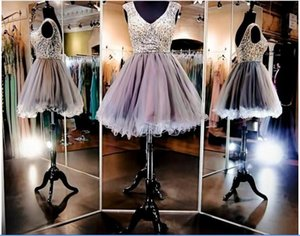 Sparkling V Neck Cheap Homecoming Dresses With Cap Sleeves Beads Crystals Sequins Ruffles Tulle Skirt Short Party Dress Cheap Prom Gowns