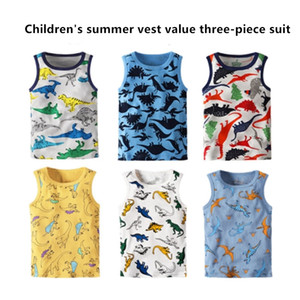 2020 spring and summer new fashion boy cartoon cotton girl baby vest bottoming shirt children vest three-piece wholesale