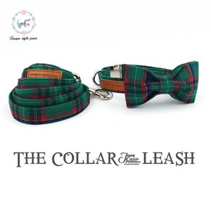 Dog Collar And Leash Set With Bow Tie Fashion Dark Green Plaid Metal Buckle Dog&cat Necklace And Dog Leash Pet Accessories