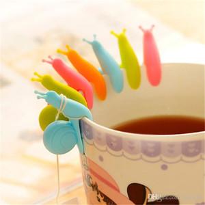 Linda forma de caracol Mini silicona té bolsa de titular los colores del caramelo bolsa de té clip de la personalidad Herramientas de té IA944