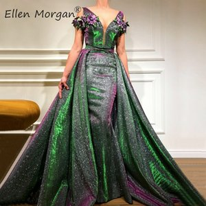 Glitter Saudi Arabian Mermaid Evening Dresses Dubai Kaftan Moroccan Lace Removable Skirt Runway Fashion Formal Prom Gowns