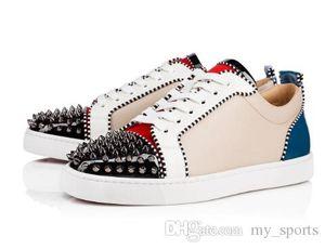 Fashion Brand Red Bottom Men Studs Sneakers Junior Tony Flat Spikes Orlato Men's Women's Flat Skate Shoes Leather Rivets Sneaker P