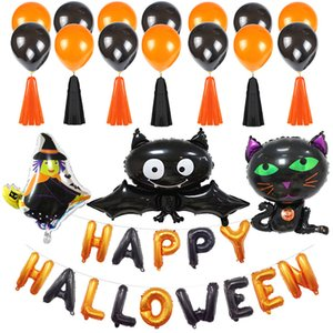 4 Stil Happy Halloween Luftballons Set Kürbis Katze Fledermaus Hexe Folie Latex Luftballons Banner Halloween Dekorationen Party Supplies JK1909