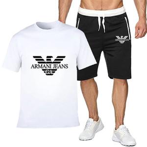 Дизайнеры Мужская футболка + шорты Комплект GAEA7ss лето с коротким рукавом Спортивные костюмы Спортивные клубы Casual Male T Shirt 2 шт Марка Размер одежды M-2XL