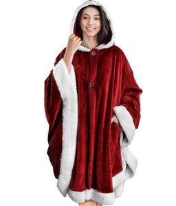 Ins Pigro Coperta mantello delle donne degli uomini del progettista plaid con cappuccio indossabile panno morbido della flanella Coperte Robe Con Pocket Capo GGA3003-3