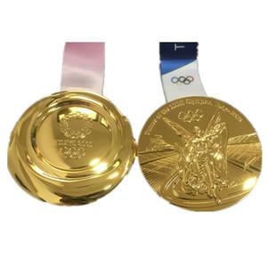 10 piezas El último deporte olímpico 2020 Tokio juegos de campeonato de concesión de la medalla de oro olímpica de 85 mm jugador insignia con la cinta